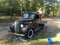 Emma washing my 1940 GMC.
