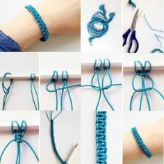 Comment fabriquer un bracelet macramé en scoubidou ? Macrame Bracelet Diy, Bracelet Crafts, Jewelry Crafts, Handmade Jewelry, Macrame Knots, Macrame Earrings, Macrame Jewelry, Jewelry Ideas, Armband Diy