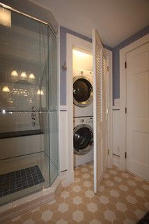 Bath/Laundry: Wouldn't it be cool to do this with my tiny bathroom - combining it with my unfinished laundry room.