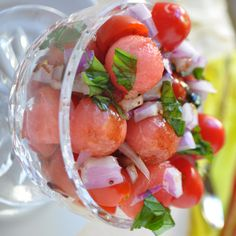 Watermelon & Tomato Salad -Doesn't get any more refreshing or tastier! Ultimate in summer cooking.  www.hollyclegg.com #diabetes #watermelon #healthy
