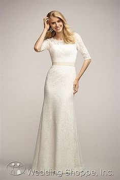 Modest informal lace wedding dress. Encore by Watters Bridal Gown Coriander / 3218E