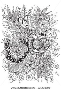 Coloring Page For Adults And Older Children Your Hobby Have A Good Time Relax Black White Floral Background With Flowers
