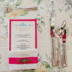 DIY Menu will be same format as invitation. White lace around silverware, holding them together.