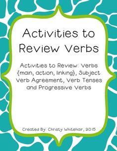 10 Activities to Review Verbs 4th Grade Ela, 4th Grade Writing, Teaching Writing, Subject Verb Agreement, Subject And Verb, Types Of Verbs, Linking Verbs, Action Verbs, Verb Tenses