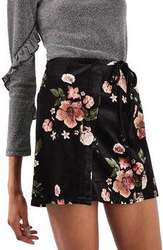 Topshop Floral Wrap Miniskirt