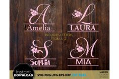 Monogram SVG designs, and you can use them to surprise and delight your loved ones on various holidays. Monogram SVG... Flower Letters, Monogram Letters, Braut Shirts, Letter A Crafts, How To Make Tshirts, All You Need Is Love, Flower Crafts, Thoughtful Gifts, Home Crafts