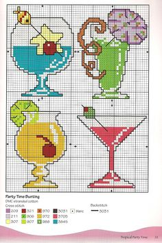 Counted Cross Stitch Summer Drink Patterns - Would look cute as coasters for an backyard bar setup...