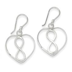 Sterling Silver Open Heart With Infinity Symbol Dangle Earrings - in Sterling Silver - FREE gift-ready jewelry box - Width of Item: 20 mm - Length of Item: 32 mm - Earring Closure: French Wire - Earring Type: Drop & Dangle - Wire Earrings, Gemstone Earrings, Sterling Silver Earrings, Drop Earrings, Infinity Heart, Infinity Symbol, Infinity Earrings, Fashion Earrings, Fine Jewelry
