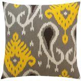 DwellStudio Home Batavia Citrine Pillow DWS639 - Grey White Yellow Ikat