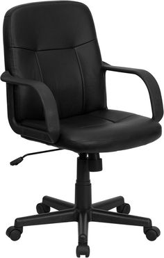 Mid-Back Black Glove Vinyl Executive Swivel Office Chair -Mid-Back Black Glove…