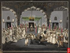 The Muharram Festival. Asaf al-Daula, Nawab of Oudh, listening at night to the maulvi reading from the scriptures, c.1795
