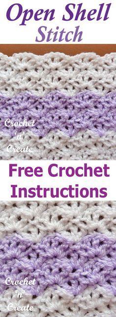Open shell crochet stitch a free tutorial from #crochetncreate crochet with any yarn or hook size. #fcrochettutorial #crochetstitch