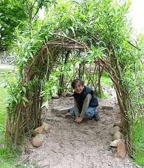 child crawls through a willow tunnel, Natural Playground, Outdoor Playground, Sensory Garden, Outdoor Classroom, Outdoor Projects, Outdoor Fun, Backyard Landscaping, Outdoor Gardens, Outdoor Learning