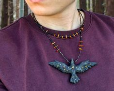 Night spirit necklace - bog oak and amber | Kaos Nest Tailor Shop, Recycled Leather, Linseed Oil, Wooden Jewelry, Ravens, Hand Carved, Nest, Glass Beads, Amber
