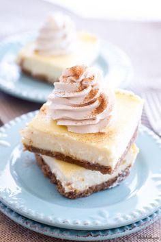 Vanilla Cheesecake Bars with Chai Whipped Cream