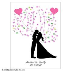 DIY Kissing Wedding Couple Silhouette Wedding Guest Book - Printable PDF Poster