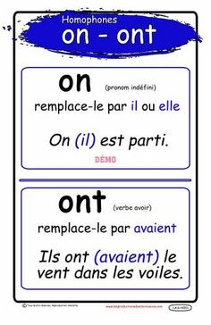 Homophones On Ont French Language Lessons, French Language Learning, French Lessons, French Teacher, French Class, Teaching French, How To Teach Grammar, Teaching Grammar, Education And Literacy