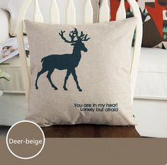 Find More Pillow Case Information about Fashion Linen Cushion Cover Pillow Case Home Decorative  Pillowcase Bedroom Pillowcover 45*45cm Deer Beige,High Quality sofa cushion padding,China sofa price Suppliers, Cheap sofa cushion seat covers from Winne on Aliexpress.com