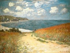 "Charmed by the drama of the French coastline, Monet's exquisitely lit ""Chemin dans les Bles a Pourville,"" lacks human figures, representing the seamless relationship between the painter and nature."