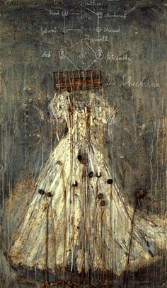 "Anselm Kiefer ~ ""Schechina"" (1999) Oil, emulsion, acrylic, lead and aluminum wire cage on canvas 190 x 330 cm.  *feminine virtues of the Divine* via Mutual Art ©Anselm Kiefer"