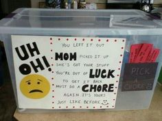 One way to declutter!  Kids may consider leaving their stuff lying around if they have to work for it. I like it.