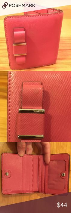 PRICE DROP👍 Coach Darcy Small Bow Wallet Strawberry pink, saffiano leather. Holds 4-6 credit cards, has full bill opening and separate zip coin pocket on back. EUC! Small blemish in pic 2. I feel it could be cleaned. Interior is perfect! No marks or stains in coin pocket or bill pocket. Saffiano leather is so amazingly durable! Coach Bags Wallets