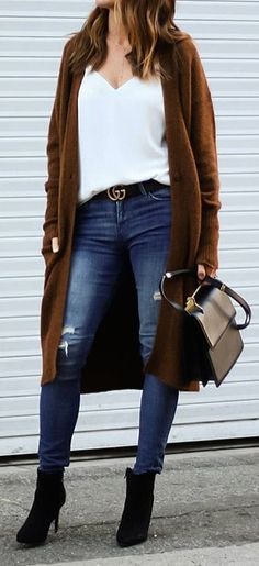 Brown Coat + White Blouse + Ripped Skinny Jeans