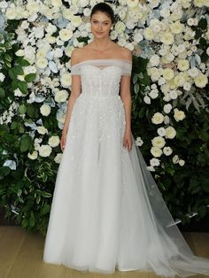 Anne Barge Spring 2019 Collection full A-line wedding dress with tulle of-the- bodice Anne Barge Wedding Dresses, Bridal Dresses, Bridal Collection, Dress Collection, Bridal Fashion Week, Bridal Style, Wedding Planning, Wedding Ideas, Evening Dresses