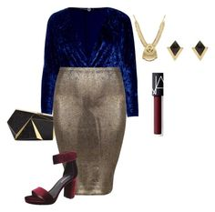"""""""plus size new years eve glam lk3 velvet lux"""" by xtrak ❤ liked on Polyvore featuring Boohoo, Rafe, Accessorize, NARS Cosmetics and Jeffrey Campbell"""