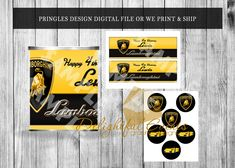 Pringles Can, Boy Party Favors, Chip Bags, Candy Bar Wrappers, 8th Birthday, Bar Mitzvah, Paper Goods, Lamborghini, Party Supplies
