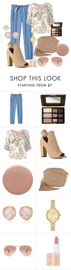 chambray and floral I by silversage on Polyvore featuring Billie & Blossom, Rebecca Taylor, Yves Saint Laurent, Monica Vinader, Irene Neuwirth, Kate Spade, Ray-Ban, Too Faced Cosmetics, Rimmel and Tom Ford