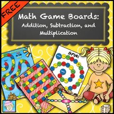 FREE! Math Game Boards (FREE!) for Addition, Subtraction, and Multiplication. Your students will enjoy practicing their math facts with these colorful, engaging games! The set includes 5 games: multiplication (2, 3, and 4), addition (with sums less than 10), su