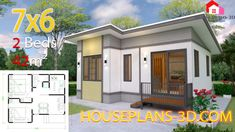 House design 10x11 with 3 Bedrooms Hip tiles - House Plans 3D
