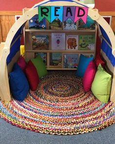 Playroom Design: Do It Yourself Playroom with Rock Wall. 30 Awesome Kids Playroom Ideas Treatment Projects Care Design home decor Reading Corner Classroom, Kindergarten Reading Corner, Reading Corner Kids, Reading Corners, Book Corners, Playroom Design, Playroom Ideas, Daycare Design, Daycare Setup