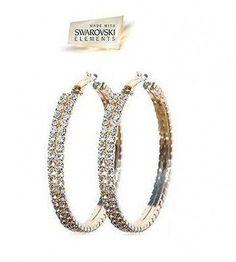 Swarovski Crystal Hoop Earrings in Gold Gift Boxed | eBay
