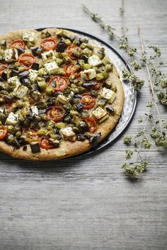 Whole Grain Pizza with Olive Oil, Greek Yogurt, Eggplant and Tomato | Vaniglia Cooking