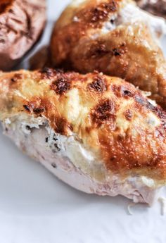 Goat Cheese Stuffed Roasted Chicken... save time by roasting this yummy chicken that will last throughout the week!