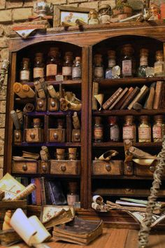 An old and shabby apothecary cabinet to mix up your magic potions. Hogwarts, Harry Potter Aesthetic, Witch House, Witch Cottage, Witch Aesthetic, Witchcraft, Wiccan, Dollhouse Miniatures, Barbie Miniatures