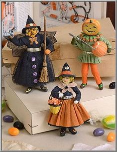 Halloween Shop: Cotton Batting Witch, Pumpkin Man Ornaments - D. Halloween Club, Halloween Doodle, Holidays Halloween, Spooky Halloween, Vintage Halloween, Halloween Crafts, Halloween Gourds, Happy Halloween, Halloween Decorations For Kids