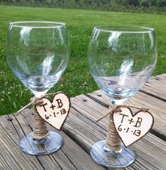 SET of 2 LARGE wine/toasting glasses Rustic Chic