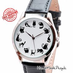 Cute Black Cats Ladies Watches, Cat Lover Gift Wrist Watch, Girlfriend Gift Ideas, Gifts for Mom - Free Shipping