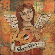 Angel with Guitar 12x12 print on wood by Teresa by teresakogut