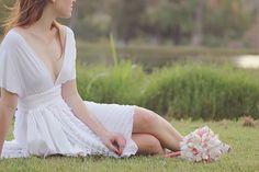 Dainty White Ruffle Octopus Convertible Wrap Dress. $149.99, via Etsy.