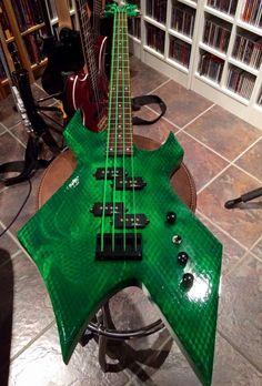 That paint job is pretty cool Custom Bass Guitar, Guitar Art, Custom Guitars, Cool Guitar, Bc Rich Guitars, Music Chords, Cool Electric Guitars, Double Bass, Guitar Design