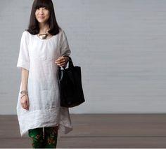 Maxi Dress  Summer Dress in White Linen Sundress for by deboy2000, $58.99