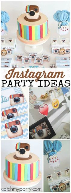 How cool is this Instagram birthday party?! See more party ideas at http://CatchMyParty.com!