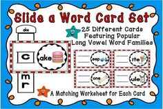 This set is designed to help your students become better readers by mastering these important skills. It includes 25 colorful, hands on Slide a Word Cards for your students to practice their short vowel family skills and familiar chunks in words.