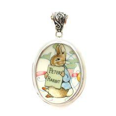 Broken_China_Jewelry Beatrix Potter Peter Rabbit w Story Book Pink Ribbon Sterling Pendant