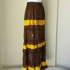Crochet skirt Brown and yellow cotton with tiered with crochet lace elastic waistband with drawstring adjustable from small to large Skirts