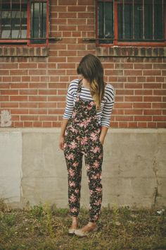 A cute floral overall and stripe tee #herstyle #stripes #summer #spring